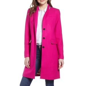 J. CREW Bright Pink Double Cloth Coat 8 NEW TAGS!!